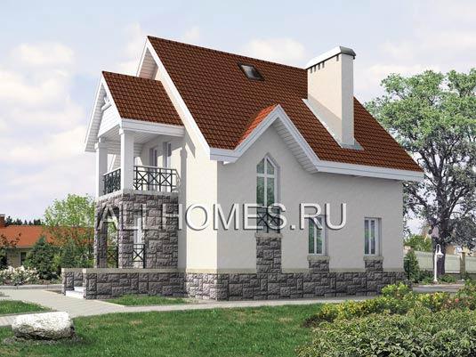 Проект загородного дома из пенобетона F-122-1P площадью 122.20 кв.м и