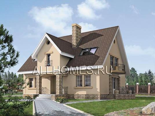 Проект компактного дачного дома из ячеистого бетона K-200-3P площадью 199.60 кв
